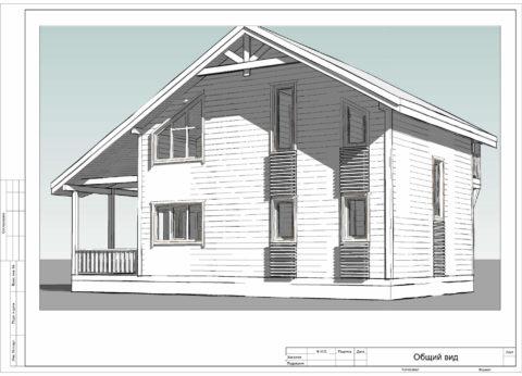 Каркасный дом по проекту КД 066, Смоленский район, д. Станички - Общий вид