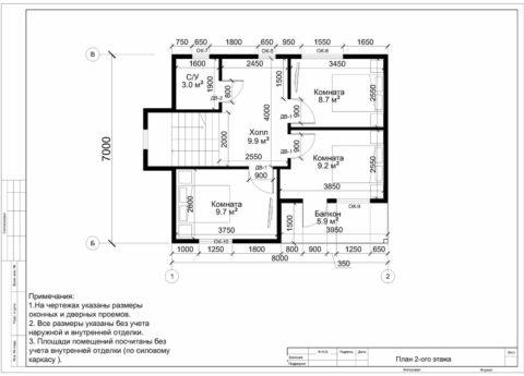 Каркасный дом по проекту КД-056, г. Смоленск, СНТ «Эфир» - План 2-ого этажа