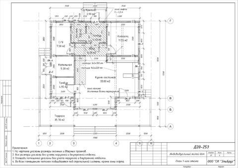 Каркасный дом по индивидуальному проекту, Ленинградская область, Выборгский район, СНТ «Полянка» - План 1-ого этажа