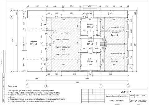 Каркасный дом по проекту КД 019, Ленинградская область, Всеволожский район, массив «Васкелово» - План 1-ого этажа
