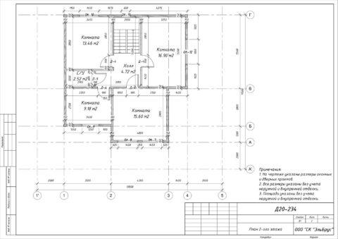 Каркасный дом по проекту КД 024, Ленинградская область, Приозерский район, ДНП «Сосново» - План 2-ого этажа