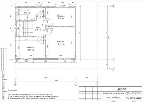 Каркасный дом по проекту КД 057, Ленинградская область, Всеволожский район, поселок «Дунай» - План 2-ого этажа