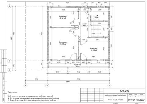 Каркасный дом по проекту КД 057, Ленинградская область, Приозерский район, пос. «Сосново» - План 2-ого этажа