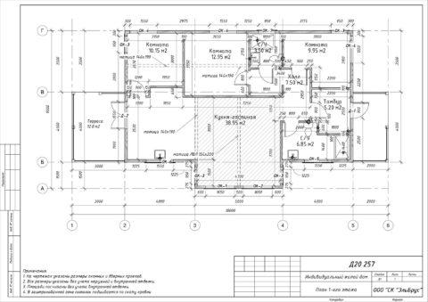 Каркасный дом по проекту КД 067, Ленинградская область, Тосненский район, КП «Ульяновка» - План 1-ого этажа